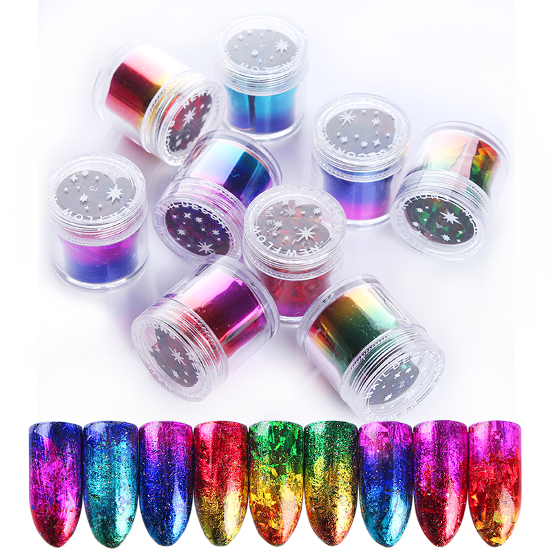 1 Roll Gradient Starry Nail Foil Paper Red Pink Gold Nail Transfer Stickers Manicure Accessories Nail Art Decorations 2.5*120cm 2016 new arrival 5cm 100m roll nail aurora stickers broken glass symphony paper nail glassine paper for 3d nail art decorations