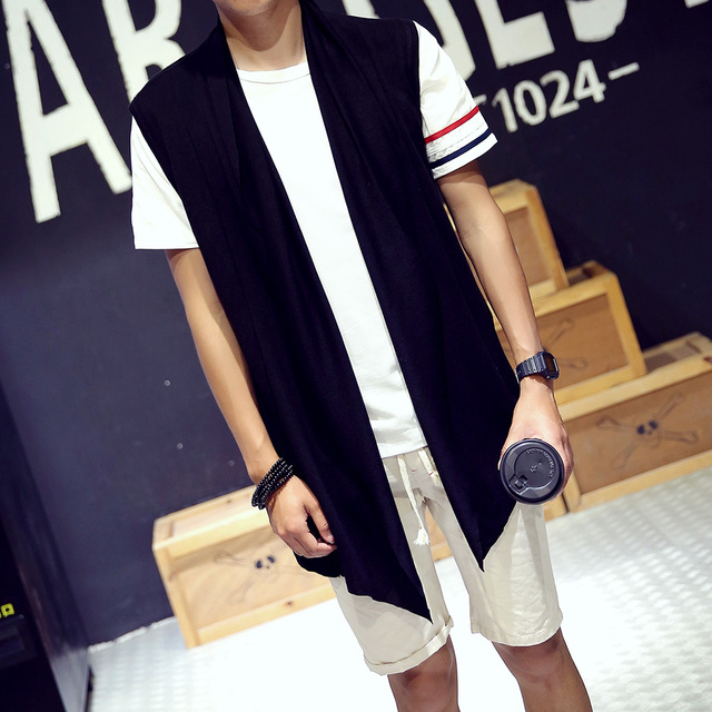 Autumn personality trend waistcoat of men's youth thin han version of a vest with a sleeveless cardigan Free shipping