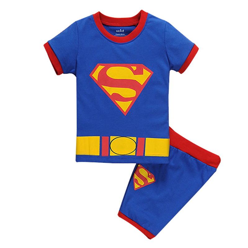 Boys girls pajamas superhero superman children Tops Short Sleeve T-Shirt Summer sleepwear baby kids set man toddler clothes set
