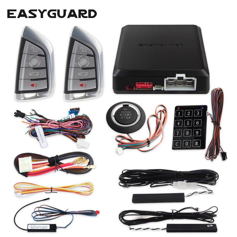 EASYGUARD code de saut système d'alarme de voiture PKE entrée sans clé démarrage du moteur à distance et entrée de mot de passe sans clé pour les voitures DC12v