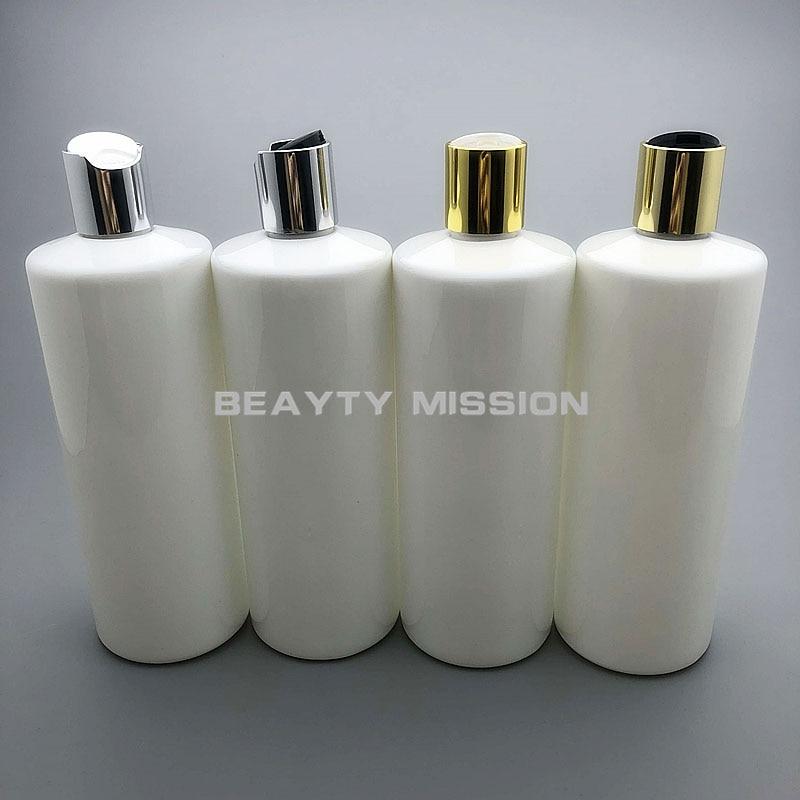 BEAUTY MISSION 500ml 12 Pcs/lot White Empty Plastic Shampoo Bottle With Gold/silver Disc Top Cap, 17 Oz PET Essential Oil Bottle