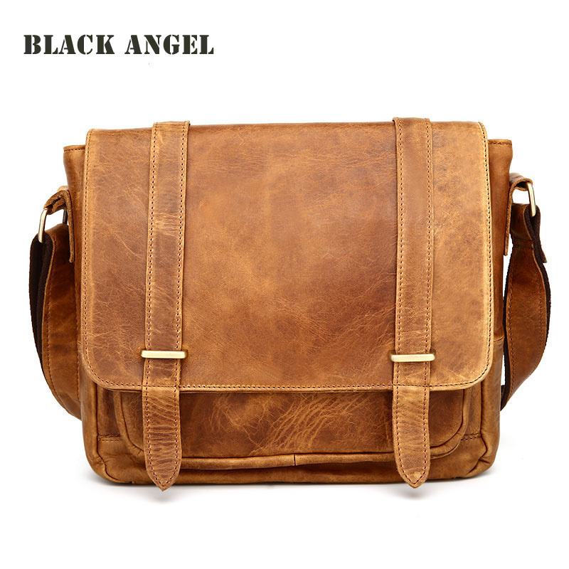Vintage Guaranteed genuine leather crossbody bag men messenger bag High Quality crazy horse leather casual Man shoulder bags men messenger bags man shoulder classic hand bag guaranteed 100