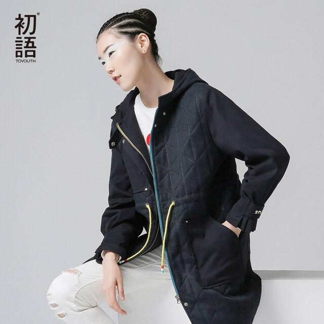 Toyouth Новое Прибытие Повседневная Женщины Твердые Полный Пальто Осень Вышивка Мода С Капюшоном Ошейник С Длинным Пальто Шанца