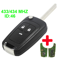 Maizhi Flip Folding Remote Car Key Shell For Chevrolet Cruze Remote Key Fob 433MHz With ID46