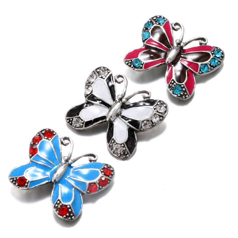 Oil Painting Snap Jewelry Butterfly Ginger Snap Buttons DIY 18MM Snap Bracelets Neklace Button Women Jewelry