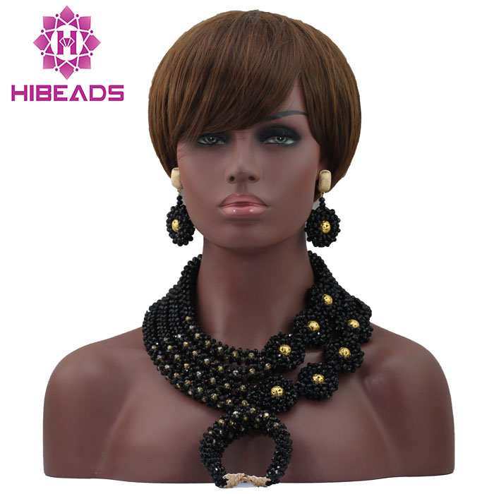 Fabulous Black Bridal Statement Necklace Set Handmade Beaded African Crystal Jewelry Sets Free Shipping HX698Fabulous Black Bridal Statement Necklace Set Handmade Beaded African Crystal Jewelry Sets Free Shipping HX698