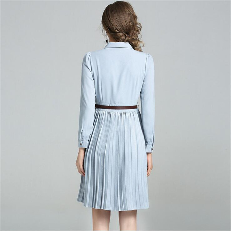 Down 2017 Robe Robes D'hiver Bowknot Ligne Femmes Casual Mince Mode Ceintures Collar Automne Turn Manches Longues Une qXwFWHRO
