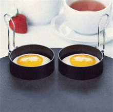 Metal Egg Frying Rings Stainless Steel Omelette Model Pancake Perfect Circle Round Fried/Poach Mould + Handle Non Stick