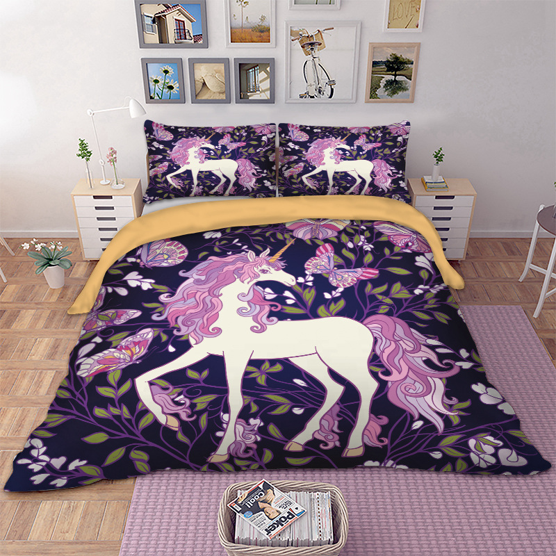 Unicorn Bedding Set Cartoon Duvet Cover Pillow Cases Twin Full Queen King Super King UK Double Size Horse Bedclothes