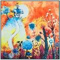 100 cm * 100 cm Pintura Flores Grandes Bufandas Cuadradas de Seda de la Tela Cruzada de Gran Éxito Venda de Las Mujeres 2017 Nuevo ESTILO de LA MODA