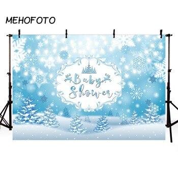 Fondo de Fotografía de Invierno para Baby Shower azul copo de nieve fiesta bebé cumpleaños adornos para foto sesión de fotos