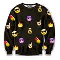 Funny White/black/yellow emoji sweatshirt print Smile face clothes women 3d hoodies basicwear tops