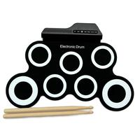 Portable Electric Roll up Drum with Drumsticks Manual Kids Simulation Drum Set Training Musical Instrument Toys for Beginners