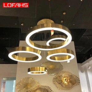 Image 3 - LOFAHS Modern LED avize lüks büyük kombinasyon daire oturma odası için led lamba asılı fikstür yüzük avizeler lamba