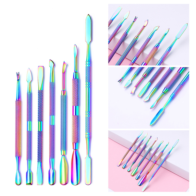 LILYCUTE Rainbow Nail Cuticle Pusher Dual-ended Chameleon Stainless Steel Dead Skin Remover UV Gel Nail Art Care Tools