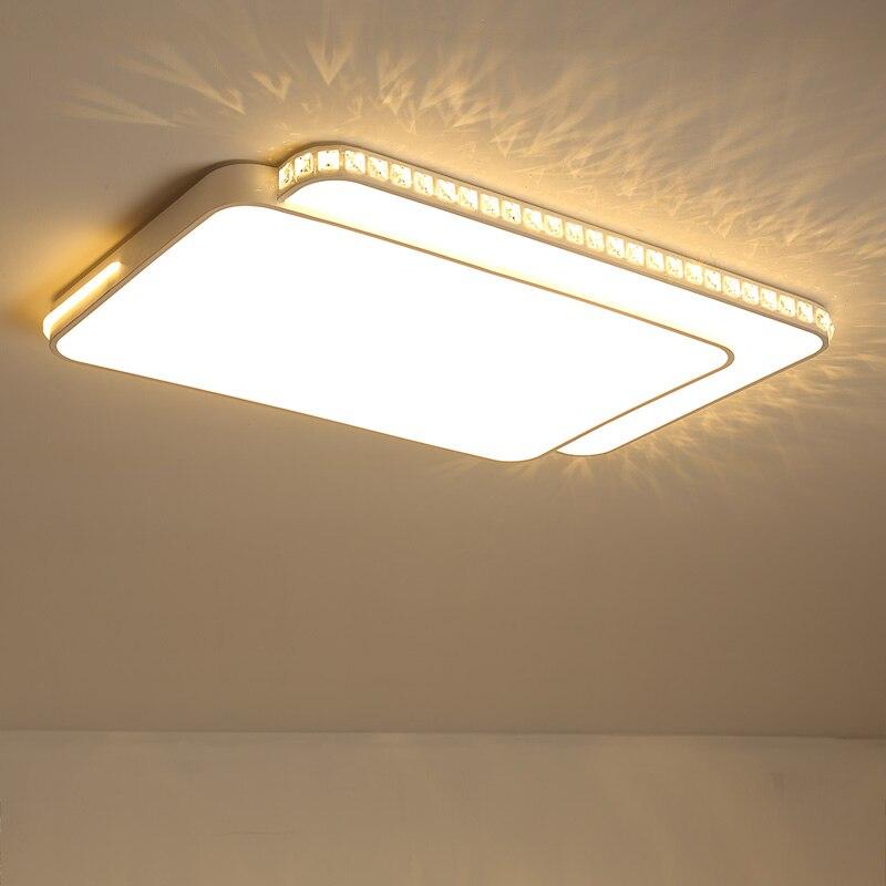 White Crystal Square/Rectangle Modern Led Chandelier lustre For Living Room Bedroom Study Room Home Deco AC85 265V chandelier