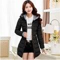 Mujeres Invierno Chaquetas negro azul y rosa largo abrigo arrugado niña chaqueta caliente con o con capucha más el tamaño xl-5xl 6xl