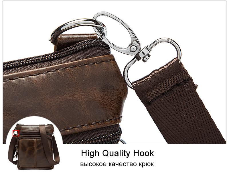 WESTAL Messenger Bag Men's Shoulder Genuine Leather bags Flap Small male man Crossbody bags for men natural Leather bag M701 17