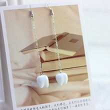 Women Tassels Ceramic Earrings Tooth White Color Pendientes Long Stud Earrings Eardrop Charm Vintage Piercing Fashion Jewelry