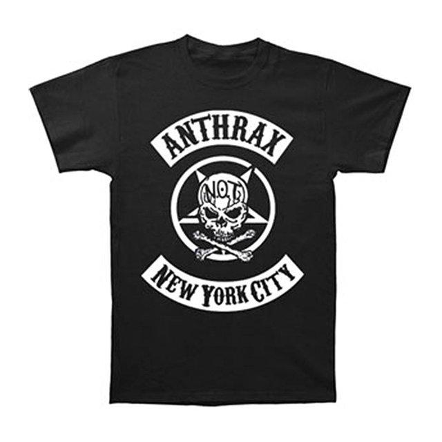 Camiseta de la manera hombres clothing ántrax del motorista de los hombres camiseta del cráneo negro de los nuevos hombres de moda de manga corta camiseta mens