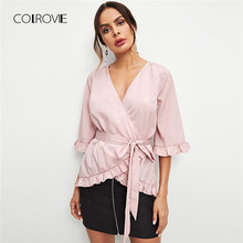 5381222ee8598 COLROVIE Solid Workwear Ruffle Wrap Pink Blouse Shirt Women 2018 Autumn  Flounce Vintage Blouse Elegant Women Tops And Blouses