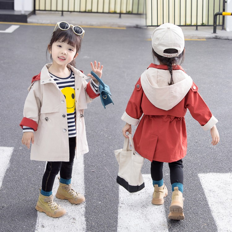 Infant Girls   Trench   2019 New Autumn Casual Solid Hooded Long Coats Outerwear Windbreaker Jackets Tops Children Clothing Costume