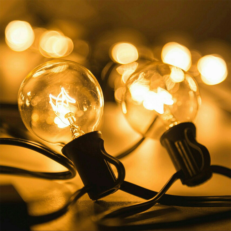 Luzes do pátio G40 Globo Luz Da Corda Festa de Natal, Branco Morno 25 25ft Clear Lâmpadas Vintage, decorativo Guirlanda de Quintal Ao Ar Livre