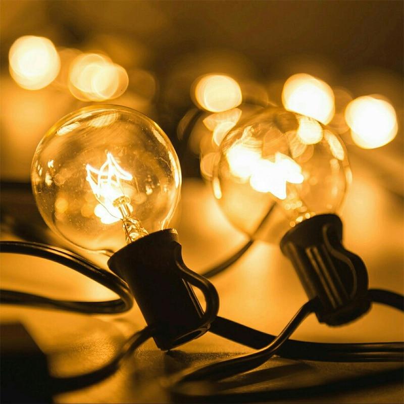 Патио-светильник s G40, вечерние круглые рождественские гирлянды, теплый белый 25 прозрачных винтажных ламп 25 футов, декоративная уличная гирл...