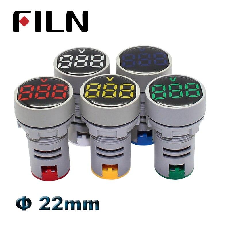 22mm LED Display AC 20-500V Digital Voltmeter Digit Voltage Meter AD16-22 Indicator Light Panel Display Red Yellow Green LED
