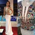 Vestido de Noche de lujo Para Las Mujeres de Colores Con Cuentas de Cristal Vestido De Festa Abendkleider Cap Manga Sirena Blanco Vestido de Fiesta de Moda