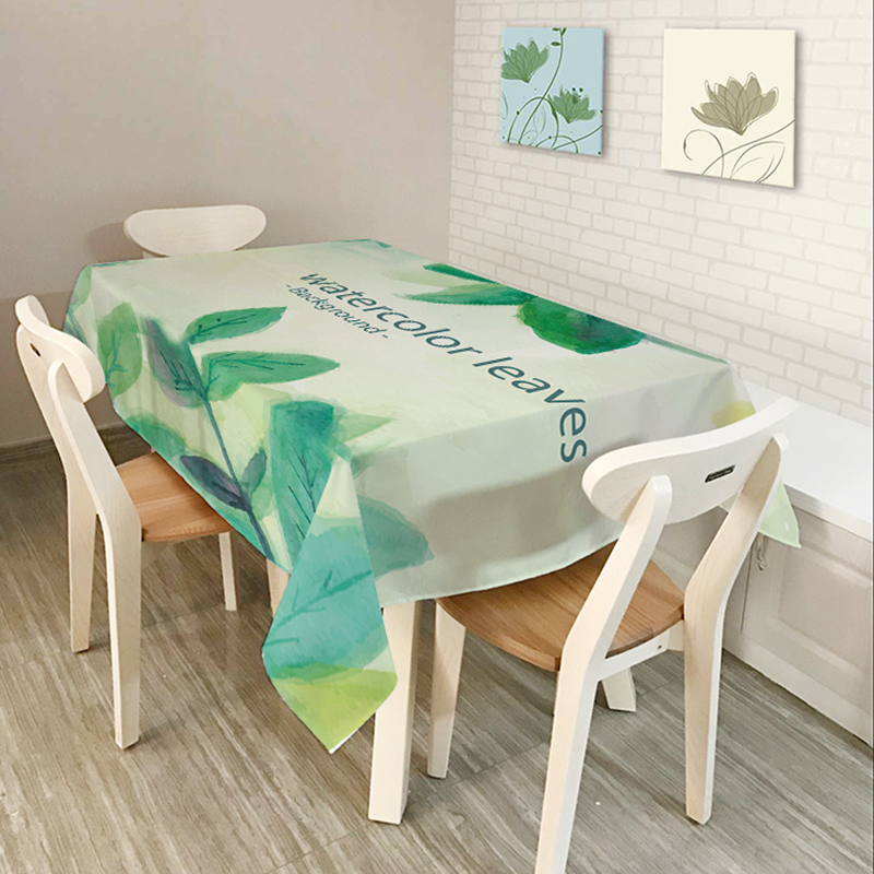 Comwarm Muti Purpose Coffee Party Decoration Table Cloth Brief Watercolor  Leaves Floral Pattern Oil