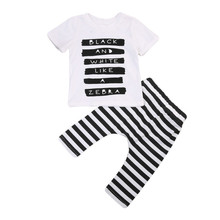 Summer New 2PCS Leisure Set Infant Newborn Baby Boy Sort Letter Short Sleeve T-shirt Tops Stripe Casual Pants Outfits Cotton