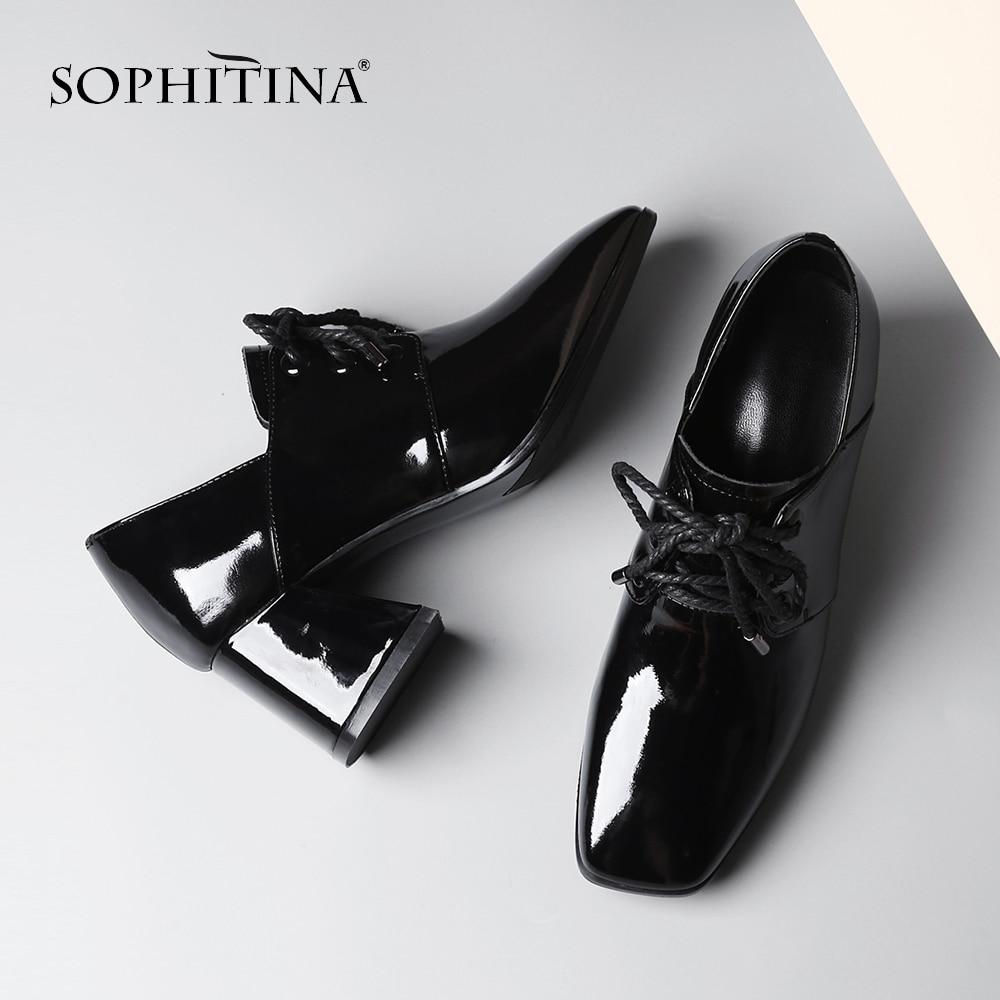 SOPHITINA nouvelles femmes décontracté's pompes à la mode en cuir verni bride à la cheville haut talon carré chaussures loisirs pompes confortables MO30