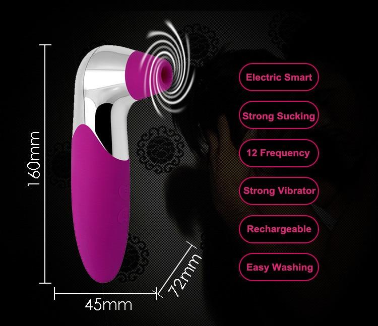 New 12 Frequency Adult Nipple Sucker Clit Vibrator For Women Tongue G-Spot Massager -5868