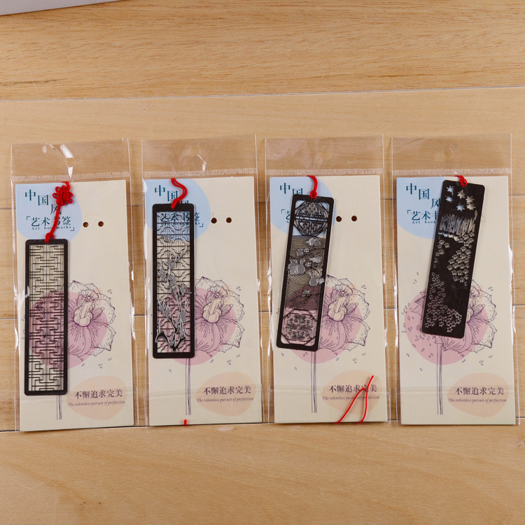 4pcs/lot  Chinese Classical Style Bookmark Merlin Bamboo Chrysanthemum Plum Orchid Flowers Metal Book Marks