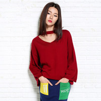 2017 Sweater Female Sweater Women Basic Shirt V Neck Solid Color Pullover Knitted Sweater Loose Style