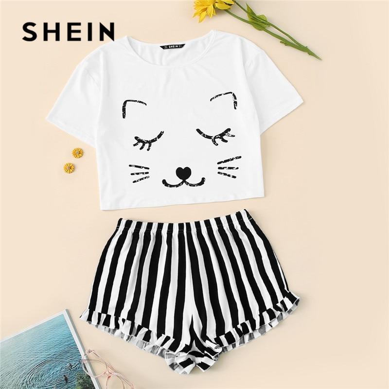 SHEIN Cat Print Crop Tshirt And Striped Shorts Pajamas Set Women 2019 Summer Casual Cute Round Neck Short Sleeve Sleepwear