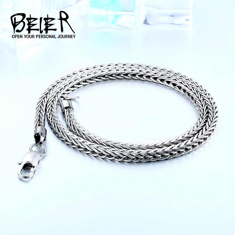 Beier 316l stainless steel necklace twist trendy Square Fox chain necklace boy/man Silver Color for man gift BN1033