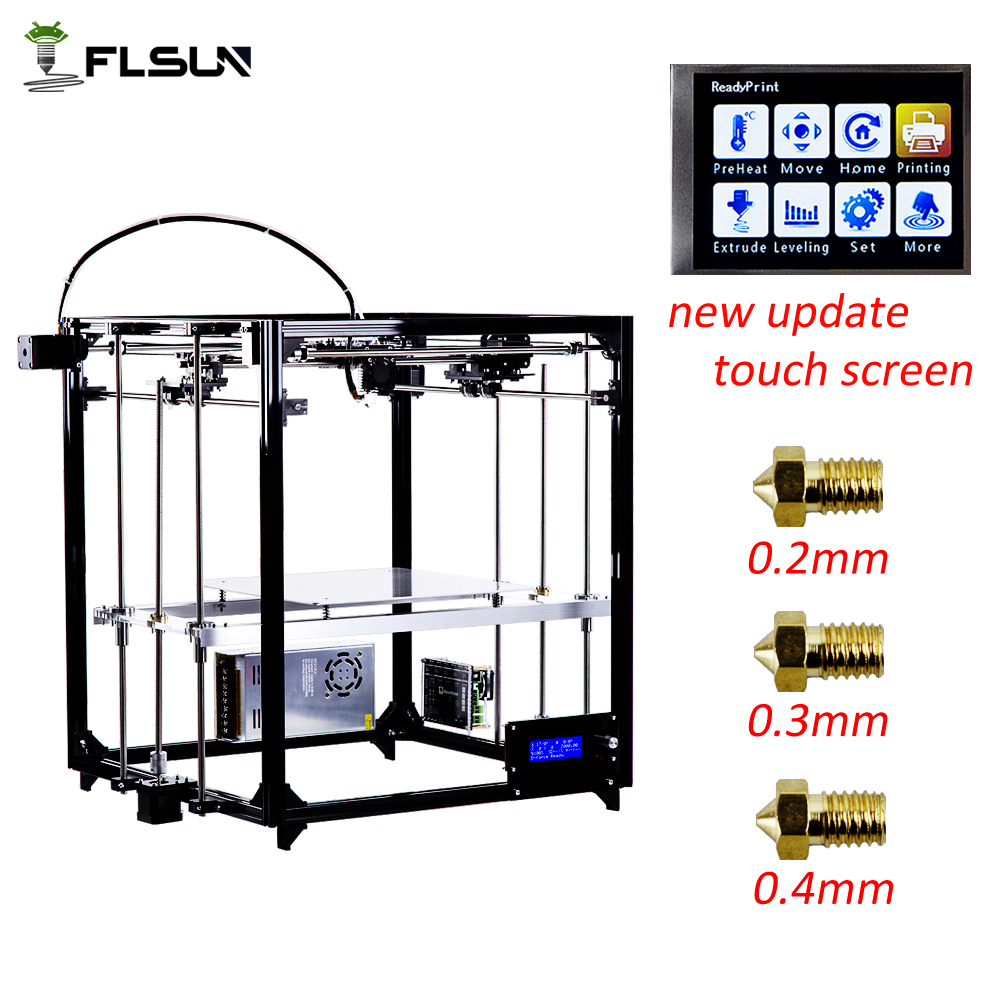 Navire d'allemagne Flsun 3d imprimante cadre en métal grande taille d'impression bricolage 3 D imprimante nivellement automatique lit chauffé un rouleaux Filament