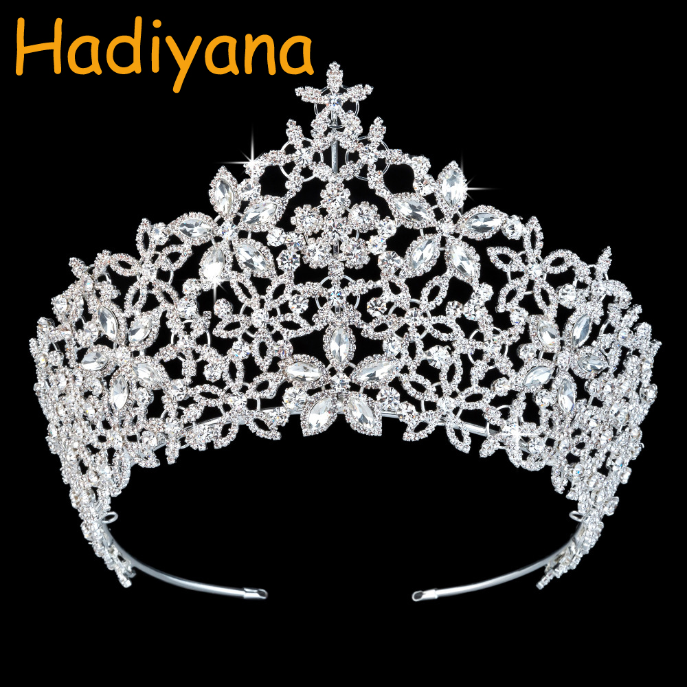 Hadiyana Luxury Flower Wreath Floral Crown Tiaras Princess Sparkling Zirconia Rhinestones Crowns Pageant Party Jewelry BC3218 искусственные цветы для дома oem guirnaldas boda decorative flower and wreath