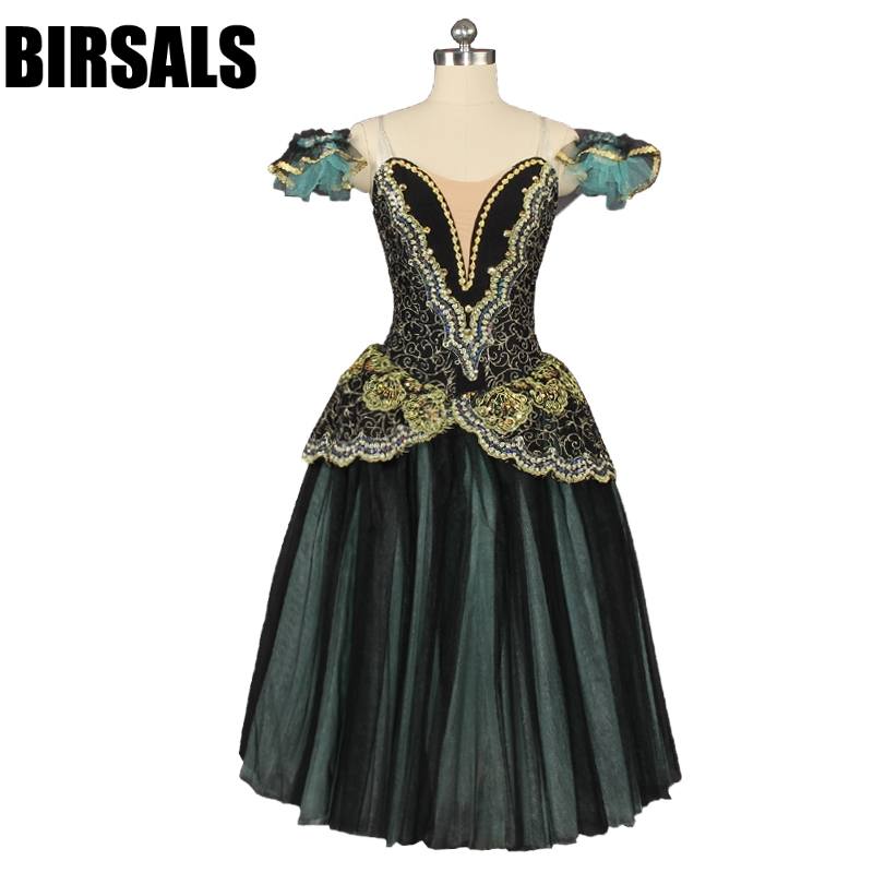 Raymanda Black Green Gold Romantic Ballet Tutu Long Dress Girls Ballerina Professional Performance Stage Costume Dress