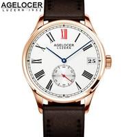 Suizo Agelcoer Regalo Reloj de pulsera de Oro Para Los Hombres de Lujo de Marca Hombre Vestido De La Manera Exquisita Relojes de Tiempo Horas Relogio Feminino Reloj