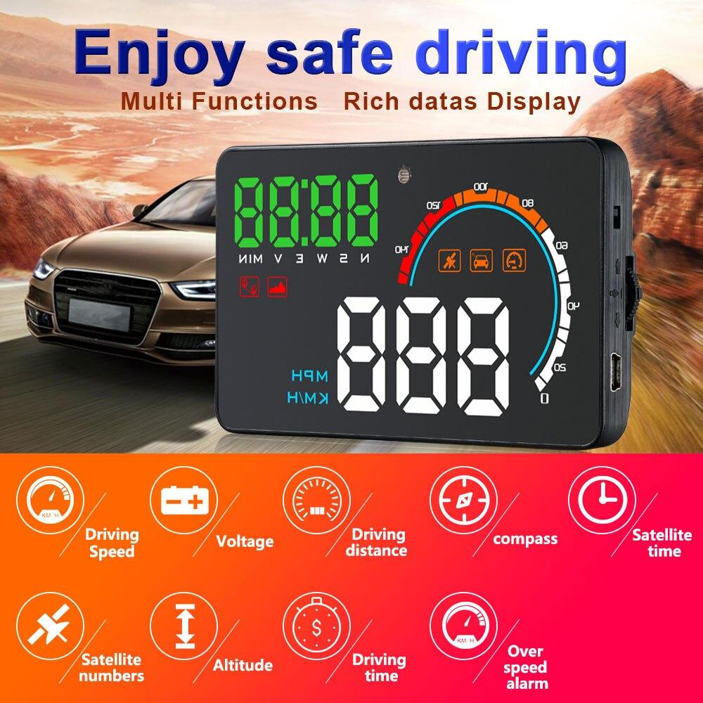 """Image 2 - 2018 nouveau 4 """"voiture HUD GPS affichage tête haute compteurs de vitesse moniteur davertissement de survitesse pour Q5 nouveau allume cigareAffichage tête haute   -"""