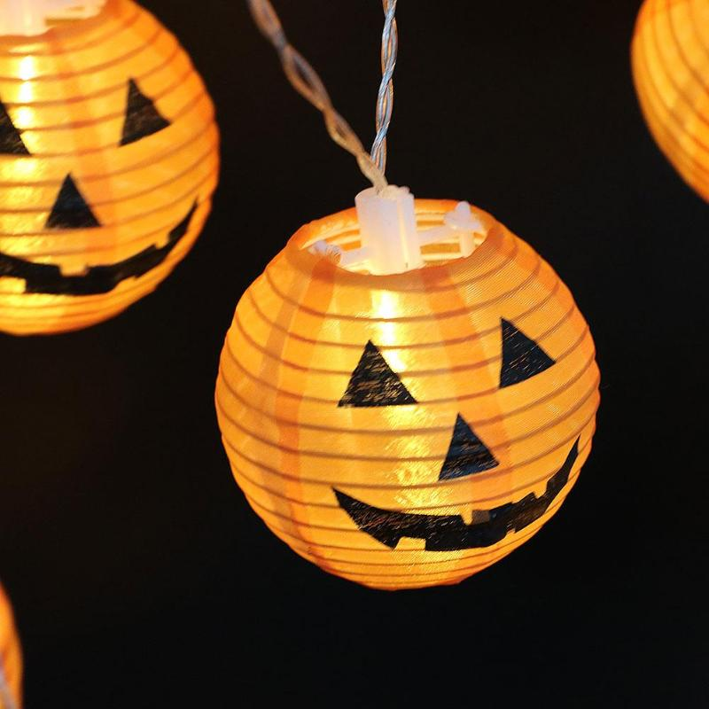 20 LED Pumpkin Lantern Light String Warm White Party Halloween Decor Lamps