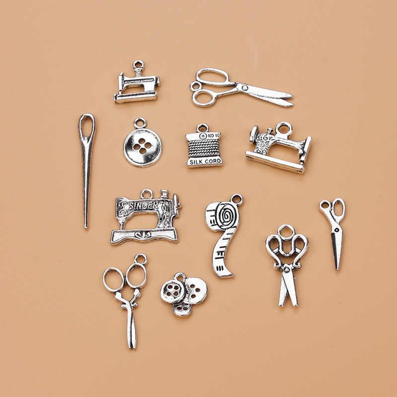 12 cái/lốc Hỗn Hợp Kim Charms Antique Bạc Kéo Mặt Dây Trang Sức Phát Hiện Cho DIY Handmade Đồ Trang Sức Làm