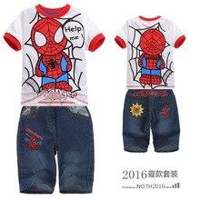 2016 Summer children suit children summer amazing spider man cartoon short sleeved t shirt + jeans kid boys cartoon fashion sets