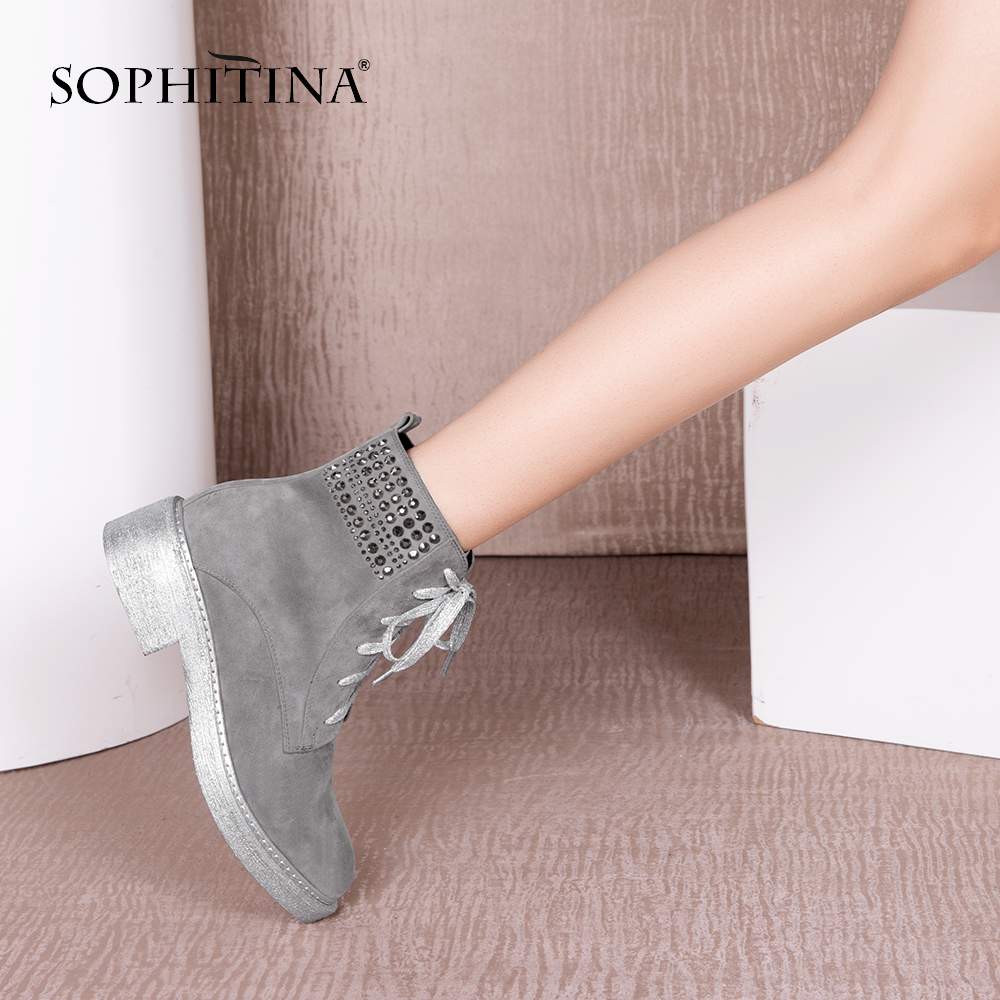 SOPHITINA Unique Handmade Boots 2019 Autumn Lace up Bling Crystal Solid Women Shoes Fashion Gray Kid
