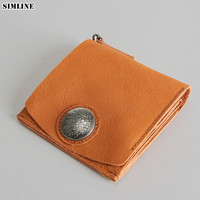 SIMLINE Handmade Genuine Leather Wallet Men Men's Vintage Vegetable Tanned Leather Short Wallets Purse Card Holder Coin Pocket