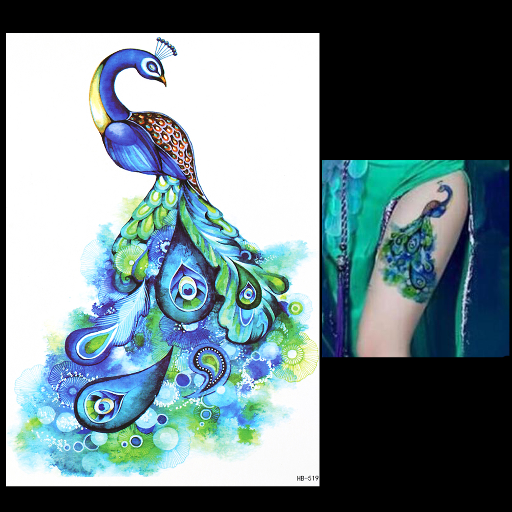 1pc Beautiful 3D Decal Temporary Tattoo For Women Men HB519 Vivid Noble Peacock Green Feather Design Tattoo Sticker Body Arm Art