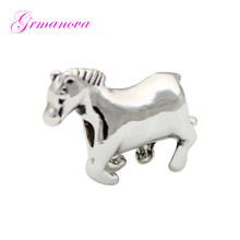 Horse animal Europe and America charm beads DIY handmade jewelry amulet Fit Pandora Bracelet Necklace(China)